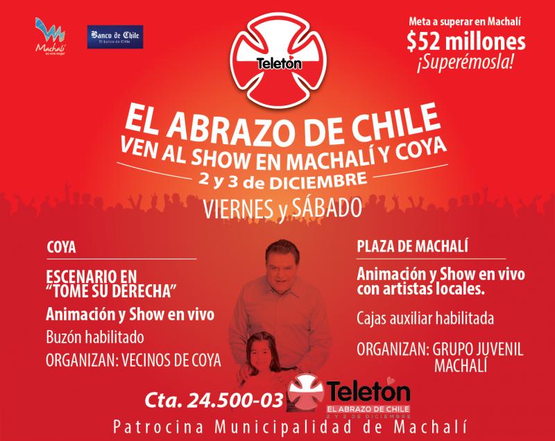 En Machalí y Coya habrá show para apoyar la Teletón
