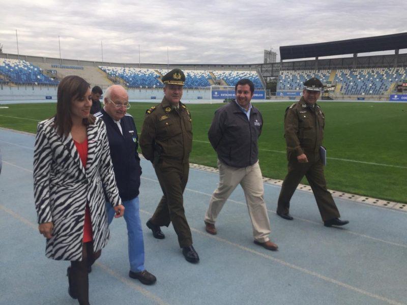 Autoridades fiscalizan Estadio El Teniente y aprueban medidas de seguridad para partido O'Higgins V/s Universidad Católica