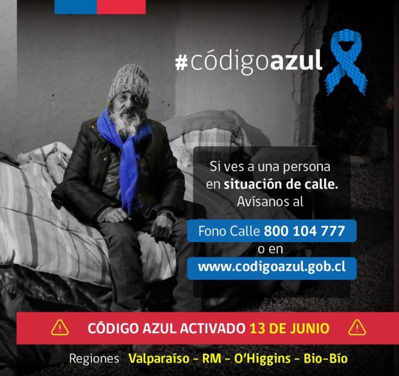Gobierno activa Código Azul ante las bajas temperaturas de estos días
