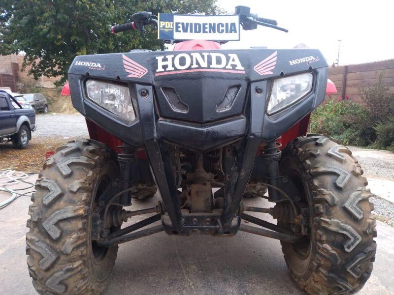 Cuatrimoto robada en Curicó es recuperada en Pichilemu